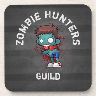 Zombie Hunters Guild with Blood Splatter Creepy Beverage Coaster