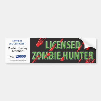 ZOMBIE Hunting License w/ blood spatters Car Bumper Sticker