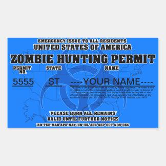 Zombie Hunting Permit (Blue) Rectangular Sticker