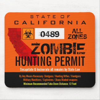 Zombie Hunting Permit Mousemat Mouse Pad