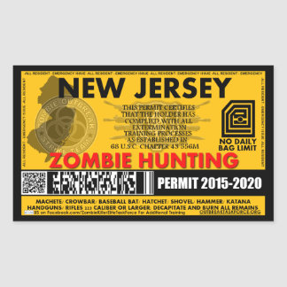 Zombie Hunting Permit New Jersey Rectangular Sticker