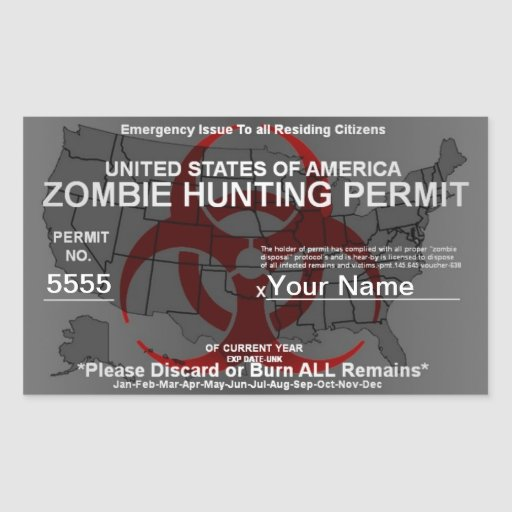 Zombie Hunting Permit Template Rectangular Stickers