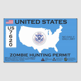 Zombie Hunting Permit - ZETA Rectangular Sticker