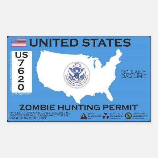 Zombie Hunting Permit - ZETA Rectangular Sticker