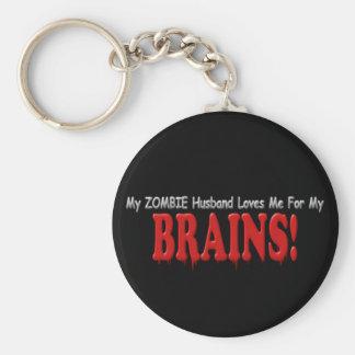Zombie Husband Loves Brains DRIP Design Keychain