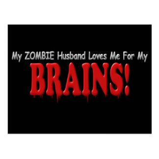 Zombie Husband Loves Brains DRIP Design Postcard