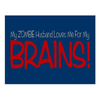 Zombie Husband Loves Brains TALL Design Postcard