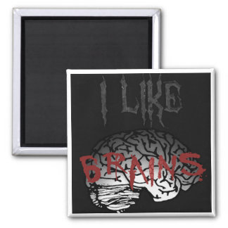 Zombie: I Like Brains 2 Inch Square Magnet