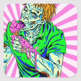 Zombie Ice Cream Square Sticker
