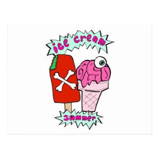 Zombie ice cream summer postcard