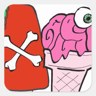 Zombie ice cream summer square sticker
