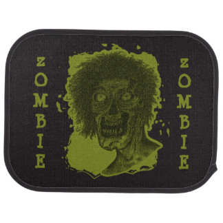 Zombie Illustrated Zombie Head Black & Green Car Mat