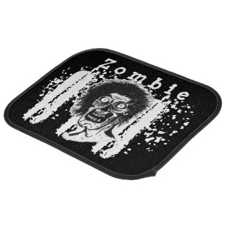 Zombie! Illustrated Zombie Head Black & White 2 Car Floor Mat