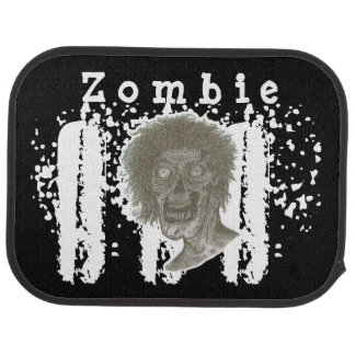 Zombie! Illustrated Zombie Head Black & White Car Floor Mat
