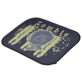 Zombie Illustrated Zombie Head-Blue/Yellow Beige Car Mat