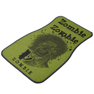 Zombie Illustrated Zombie Head Green & Black Car Floor Mat