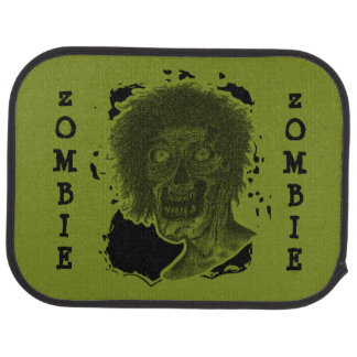 Zombie Illustrated Zombie Head Green & Black Car Mat