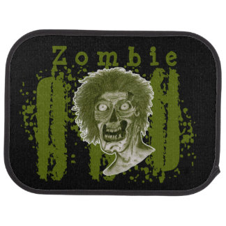 Zombie Illustrated Zombie Head Green Car Floor Mat