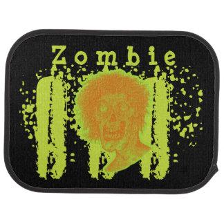 Zombie Illustrated Zombie Head Orange Neon 2 Car Floor Mat