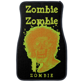 Zombie Illustrated Zombie Head Orange Neon 2 Car Mat