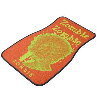 Zombie Illustrated Zombie Head Orange Neon Car Floor Mat