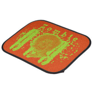Zombie Illustrated Zombie Head Orange Neon Car Mat