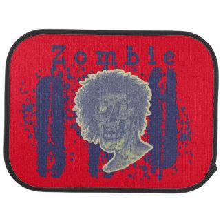 Zombie Illustrated Zombie Head Red Beige/Blue Car Floor Mat