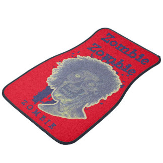 Zombie Illustrated Zombie Head Red/Blue Car Mat