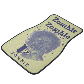Zombie Illustrated Zombie Head Yellow Beige/Blue 2 Car Floor Mat