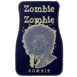 Zombie! Illustrated Zombie Head! Yellow Beige/Blue Car Floor Mat