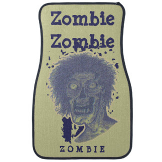 Zombie! Illustrated Zombie Head Yellow BeigeBlue 2 Car Mat