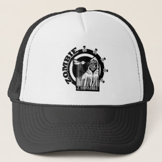 Zombie in Cloak - Black And White Trucker Hat