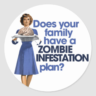 Zombie Infestation Plan Classic Round Sticker