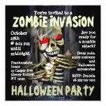 """Zombie Invasion Halloween Party Invitation 5.25"""" Square Invitation Card"""