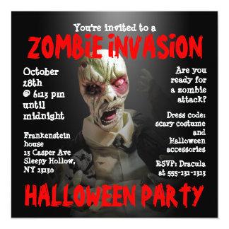 Zombie Invasion Skull Halloween Party Invitation
