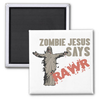 Zombie Jesus Says RAWR 2 Inch Square Magnet