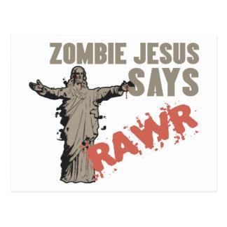 Zombie Jesus Says RAWR Postcard