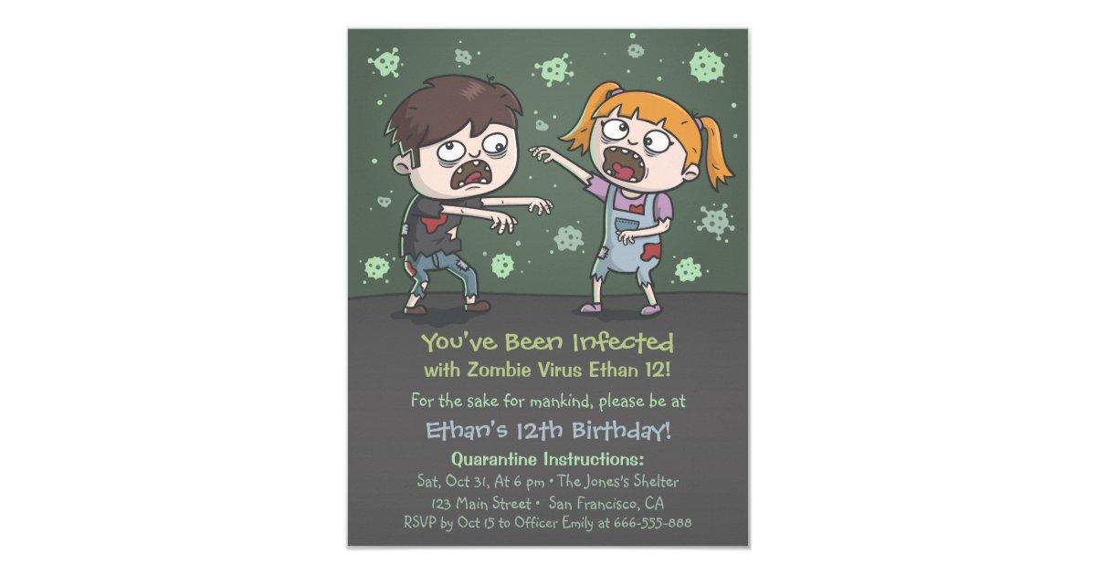 Zombie Kids Halloween Birthday Party Invitations | Zazzle.com