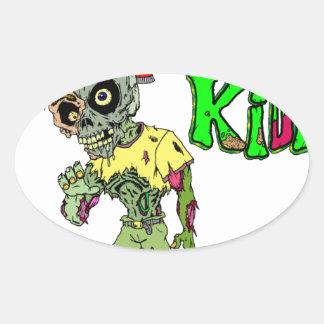Zombie Kids Oval Sticker