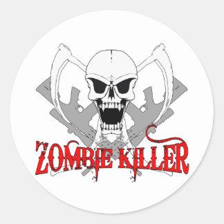 zombie killer 3 classic round sticker