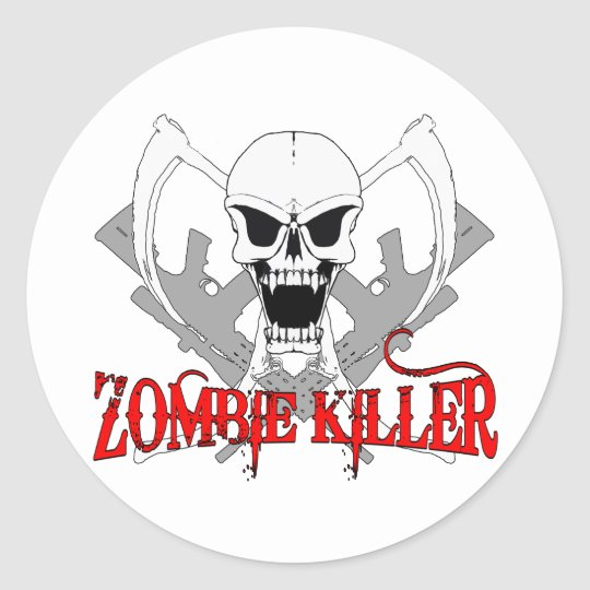 zombie killer 3 classic round sticker