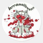 Zombie Kitty Brains!! Classic Round Sticker