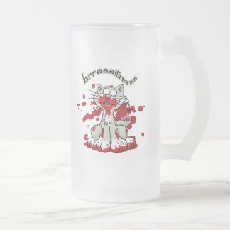 Zombie Kitty Brains!! Frosted Glass Beer Mug