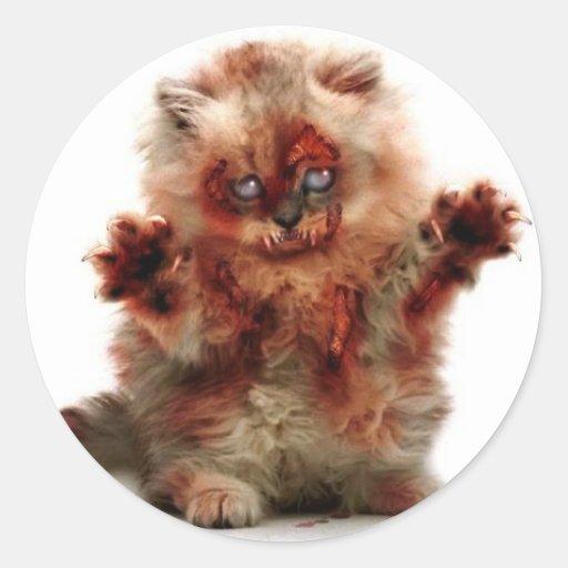 Zombie Kitty Classic Round Sticker
