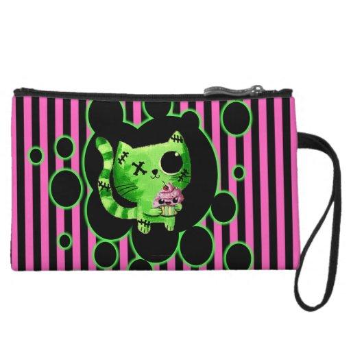 Zombie Kitty mini clutch Wristlet Purse