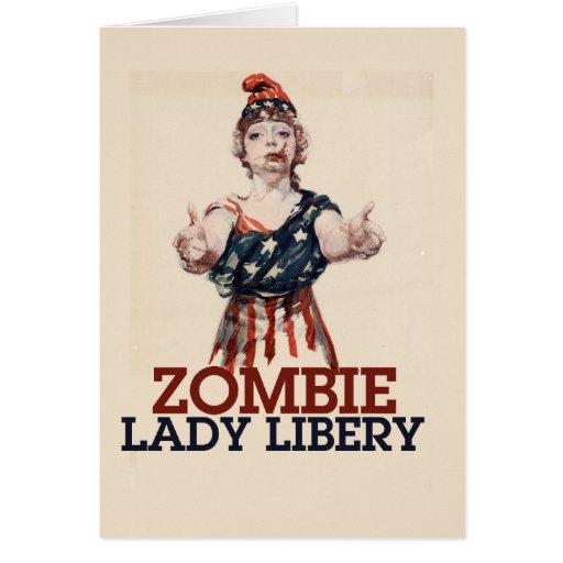 Zombie Lady Liberty Card