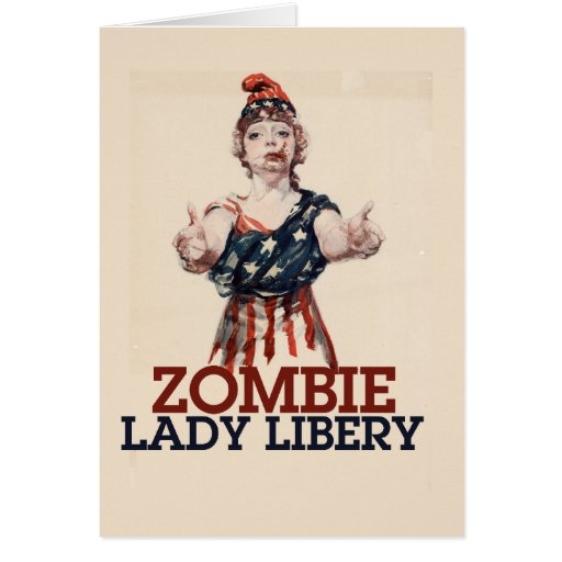 Zombie Lady Liberty Greeting Cards