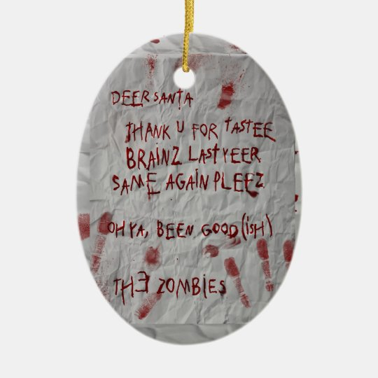 zombie letter to santa ceramic ornament