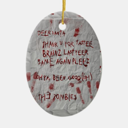 zombie letter to santa Double-Sided oval ceramic christmas ornament