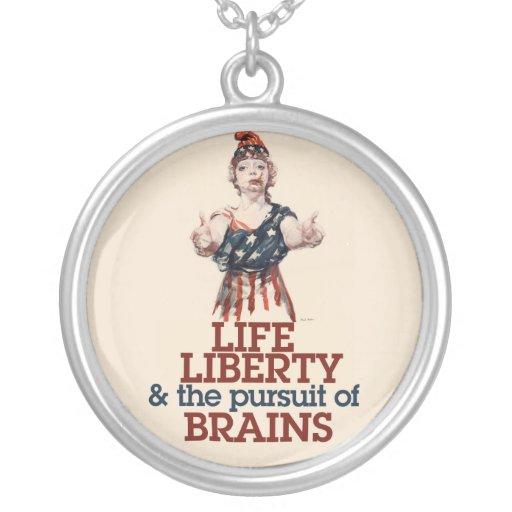 Zombie Liberty Round Pendant Necklace